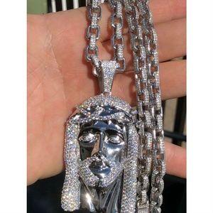 "HUGE 3"" Jesus Pendant Piece Solid 925 Sterling"